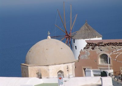 windmill and chruch in north of Oia